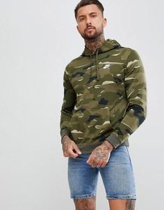 Худи зеленого цвета с камуфляжным принтом Nike AQ0598-325 - Зеленый