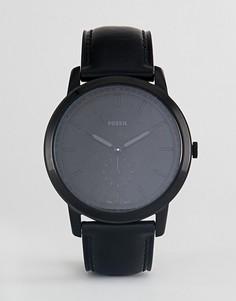 Черные часы с кожаным ремешком Fossil FS5447 The Minimalist - Черный