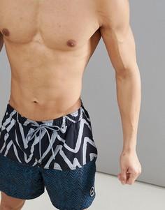 Сине-серые пляжные шорты длиной 17 дюймов с принтом Quiksilver Techtonics Volley - Синий