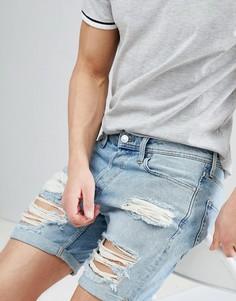 Состаренные джинсовые шорты Jack & Jones - Синий