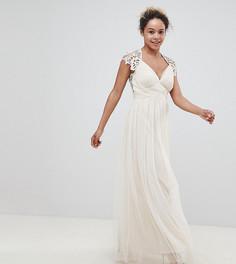 платье макси с кружевной вставкой сзади Little Mistress Petite - Кремовый