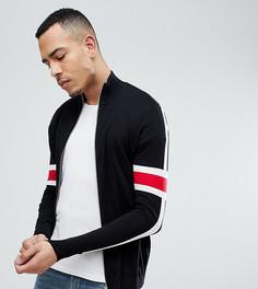 Черная спортивная куртка с рукавами в полоску ASOS DESIGN Tall - Черный