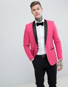 Ярко-розовый пиджак-смокинг узкого кроя с черными лацканами ASOS DESIGN - Розовый