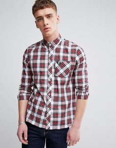Красно-белая рубашка в шотландскую клетку Fred Perry REISSUES - Белый
