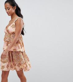 Ярусное платье мини с помпонами и цветочным принтом Vero Moda Petite - Розовый