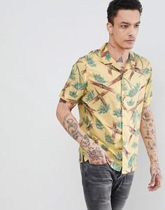 Желтая рубашка с короткими рукавами и принтом AllSaints - Желтый