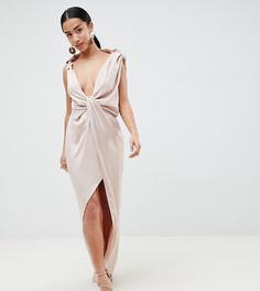 Атласное платье макси ASOS DESIGN Petite - Розовый
