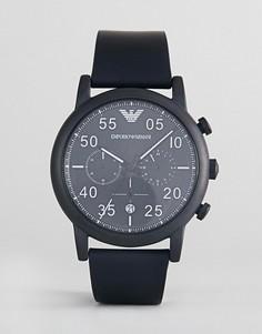 Часы с хронографом и кожаным ремешком Emporio Armani AR11133 - Черный