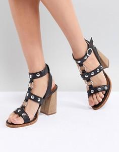 Кожаные босоножки на каблуке ASOS DESIGN Tiffany - Черный