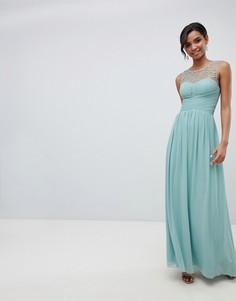 Платье макси с декорированным топом Little Mistress - Зеленый