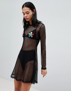 Сетчатое платье с цветочными нашивками Lazy Oaf - Черный