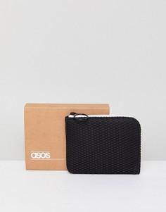 Черный сетчатый бумажник на белой молнии ASOS DESIGN - Черный