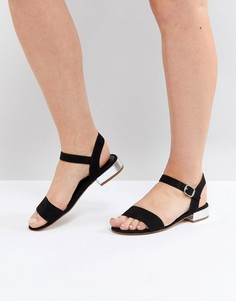 Черные босоножки на низком каблуке Head Over Heels by Dune - Черный