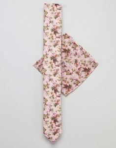 Галстук и платок для нагрудного кармана розового цвета с цветочным принтом ASOS DESIGN Wedding - Розовый