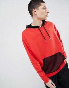 Oversize-худи красного цвета с сетчатой вставкой ASOS DESIGN - Красный