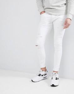 Белые рваные джинсы скинни Liquor N Poker - Белый