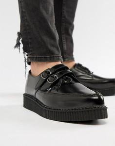 Черные кожаные криперы с 2 пряжками и молниями T.U.K - Черный