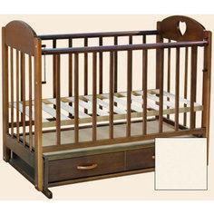 Кроватка Ведрусс Иришка 3 ящик/маятник (сердечко/слоновая кость)
