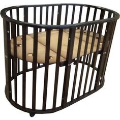 Кроватка трансформер Briciola овальная 8 в 1 без маятника, темная (BR2107)