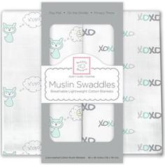 Набор муслиновых пеленок SwaddleDesigns 2 шт. - SeaCrystal Fox XOXO