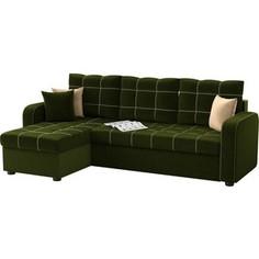 Угловой диван АртМебель Ливерпуль микровельвет зеленый левый угол