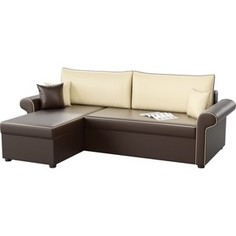 Угловой диван АртМебель Милфорд эко-кожа коричнево-бежевый левый угол