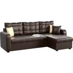 Угловой диван АртМебель Ливерпуль эко-кожа коричневый правый угол