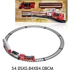 Железная дорога 1Toy Ретро Экспресс, свет, звук, дым, паровоз, 2 вагона, 11 деталей, длина путей 76х75 см (Т10146)