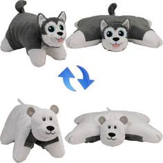 Мягкая игрушка 1Toy Подушка Вывернушка 2в1,Хаски-Полярный Медведь (Т12043)