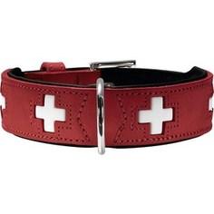 Ошейник Hunter Collar Swiss 32 (24-28см) кожа красный/черный для собак