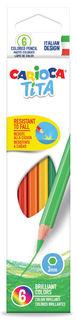 Карандаши цветные Carioca TITA 42792 шестигран. пластик 6цв. коробка/европод.