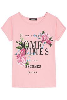 Розовая футболка с принтом La Reine Blanche