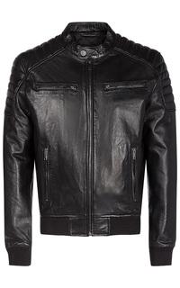 Кожаная куртка с отделкой трикотажем Urban Fashion for men
