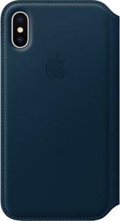 Чехол-книжка Apple Leather Folio для iPhone X (космический синий)