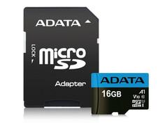 Карта памяти 16Gb - A-Data Premier - Micro Secure Digital HC Class 10 UHS-I U1 AUSDH16GUICL10A1-RA1 с переходником под SD