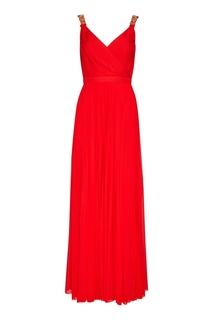 Красное плиссированное платье Alexander Mc Queen