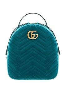 Голубой стеганый рюкзак GG Marmont Gucci