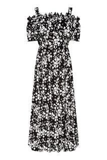 Длинное платье с контрастным принтом