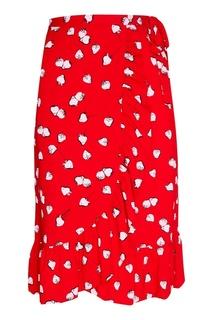 Красная юбка с принтом Miu Miu