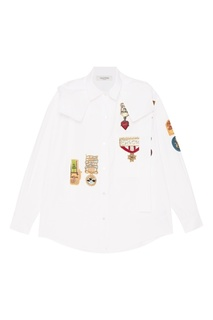 Белая рубашка с аппликациями Valentino