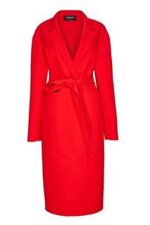 Красное пальто с поясом Rochas