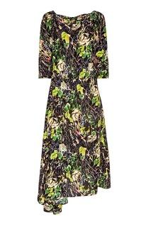 Шелковое платье-миди с цветами Prada