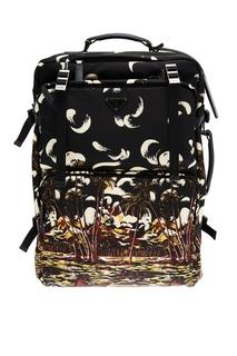 Черный чемодан с принтом пальм Prada