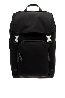 Черный рюкзак с пряжками Prada