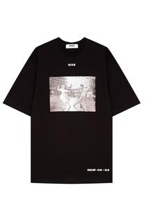 Черное платье-футболка с принтом Msgm