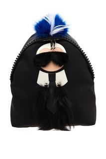 Черный рюкзак с аппликацией Fendi