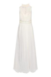 Серое платье с плиссировкой Prada