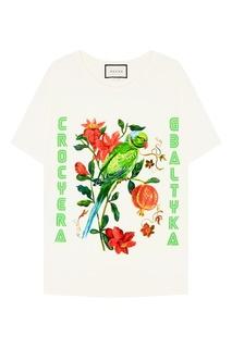 Футболка с цветами и попугаем Gucci