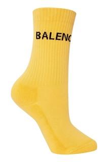 Желтые носки из хлопка с логотипом Balenciaga