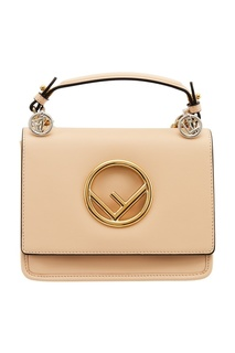 Бежевая сумка с золотистым логотипом Kan I Fendi